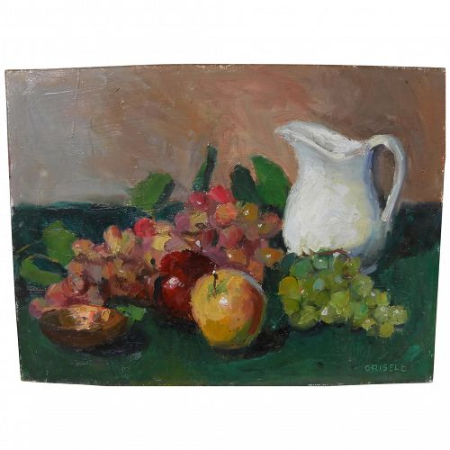 SUSAN GRISELL (1946-) impressionist American art still life painting fruit and pitcher