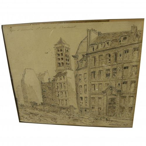 Paris 1867 ink drawing of 5th Arrondissement street scene signed DELAUNAY