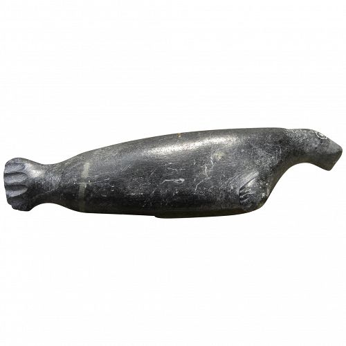 Northwest Coast folk art vintage soapstone carving of a walrus