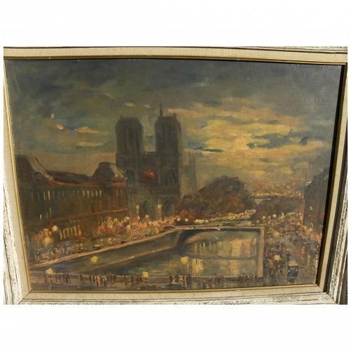 Circa 1950 signed impressionist central Paris scene with Notre Dame and figures