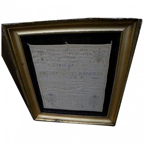 American needlework 1833 sampler by identified maker and location (Waldoboro, Maine)