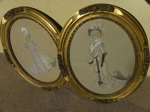 Circa 1900 fashion original drawings in oval frames artist signed