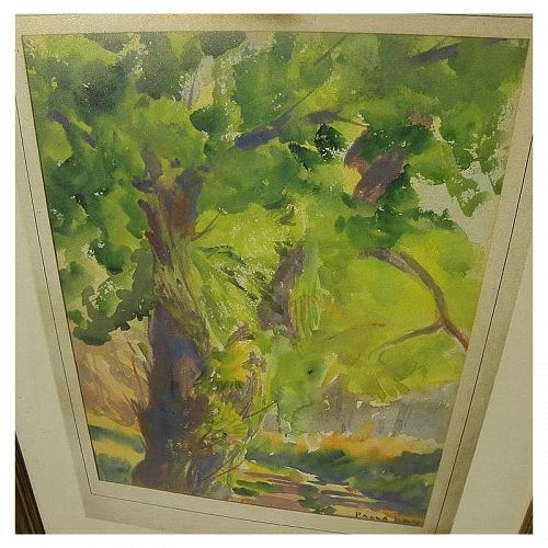 Impressionist vintage American watercolor landscape signed Paula Day