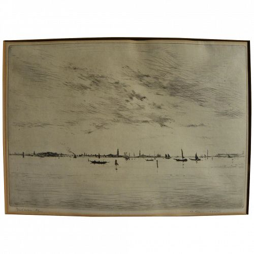 EDGAR CHAHINE (1874-1947) fine etching of the lagoon of Venice Italy by noted Armenian-French artist