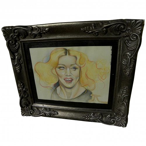 "Madonna original caricature drawing by contemporary gallery artist ""14"""