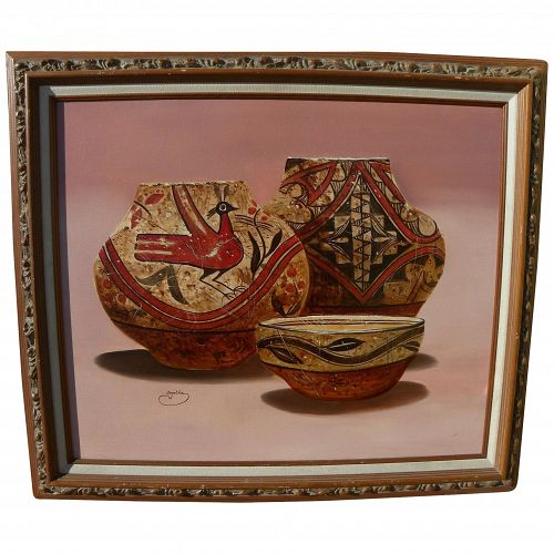 Contemporary signed Southwestern American painting of New Mexico pottery