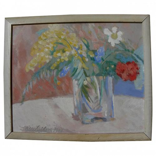 Scandinavian art 1946 impressionist still life floral painting signed OLLE ERIKSON