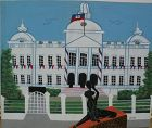 Haitian art naive painting of Presidential Palace in Port-au-Prince�