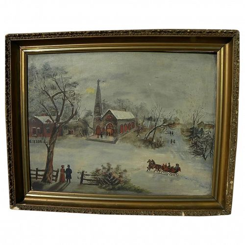 Folk art Americana primitive painting of a winter scene with horse drawn sleigh