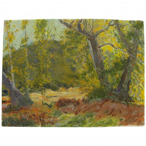 Contemporary American impressionist painting of early autumn landscape