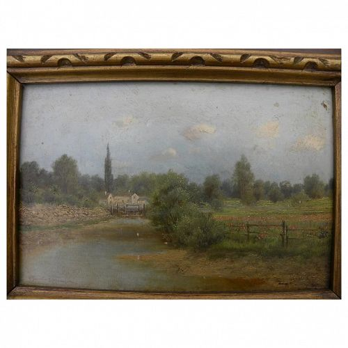 ALDRICH OTTO FARSKY (1860-1930) old landscape painting painted in Europe