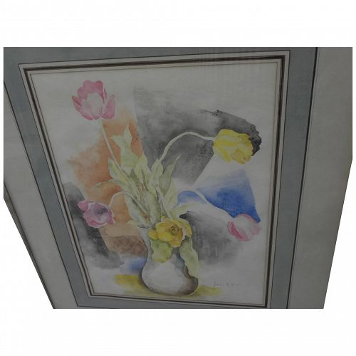 JULIAN E. LEVI (1900-1982) modernist watercolor still life painting of tulips in a vase