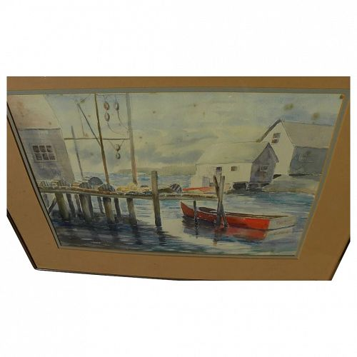Watercolor painting of New England harbor signed J. Stephenson