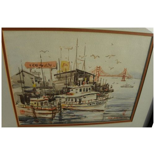 SUN YING (1919-) Chinese contemporary watercolor painting of San Francisco Fisherman's Wharf view