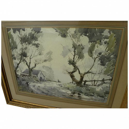 American watercolor landscape painting circa 1940's signed A W Edwards