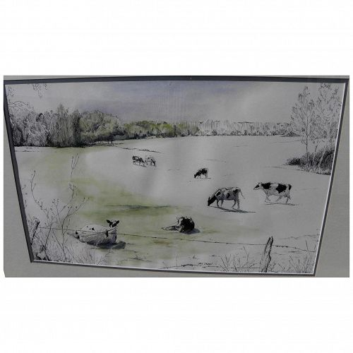Watercolor painting of cows in a field signed Sam Smith