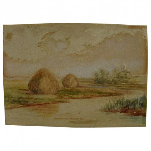 American late 19th century watercolor impressionist painting of haystacks on a marsh