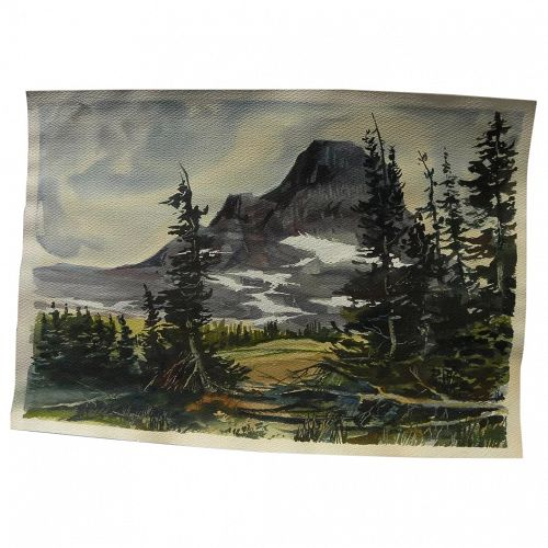 Watercolor painting of dramatic western mountain