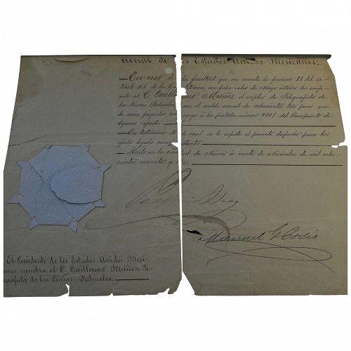 Mexican historical ephemera 21 official documents including signature of President Porfirio Diaz