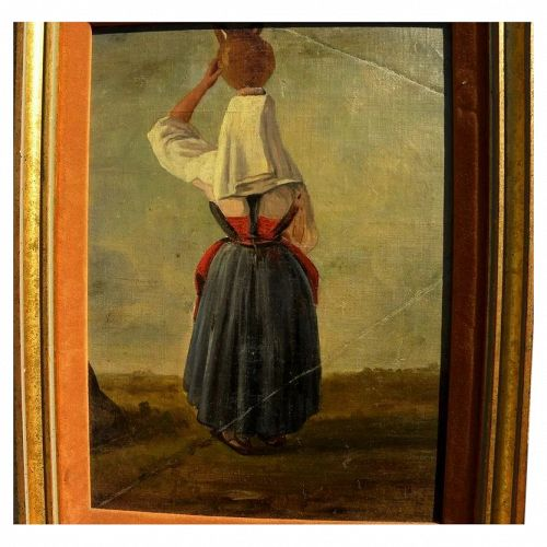 Italian 19th century painting of woman in traditional dress balancing jug on head