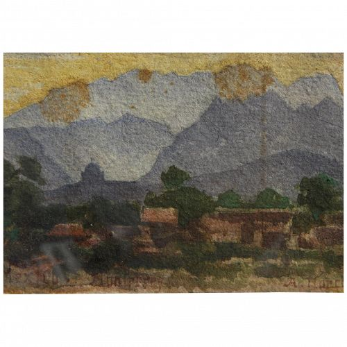 """Mexican 1909 watercolor painting """"Monterrey"""" signed A. Hoeck"""