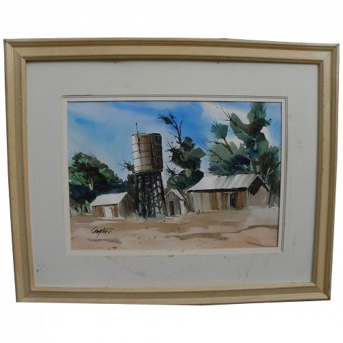 Contemporary California watercolor painting outbuildings in dry landscape signed Compton