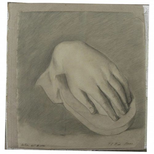 Charming signed 1832 pencil drawing study of a human hand