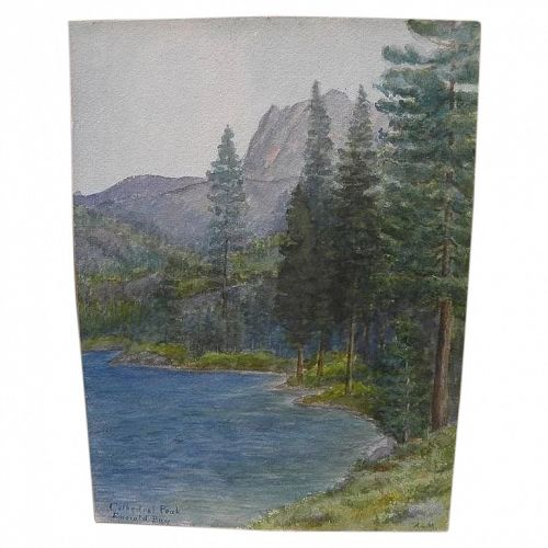California vintage art early 20th century watercolor of Emerald Bay Lake Tahoe signed A.L.M.