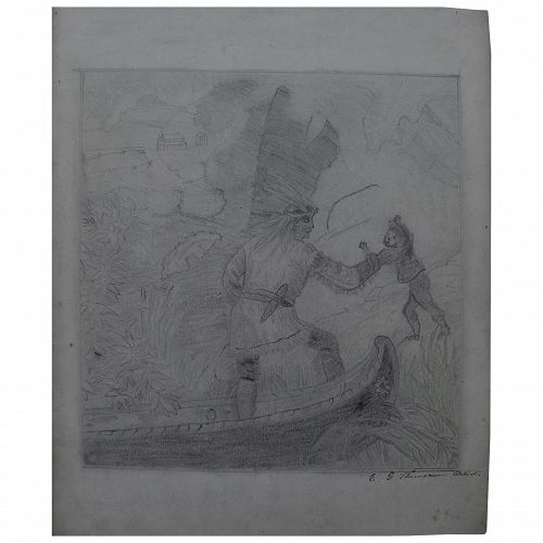 Early to mid 19th century signed pencil drawing indians clashing with settlers in America