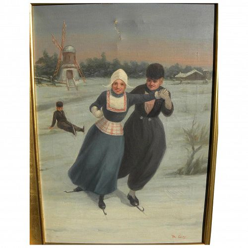 Circa 1900 painting of Dutch ice skaters in winter in traditional costume