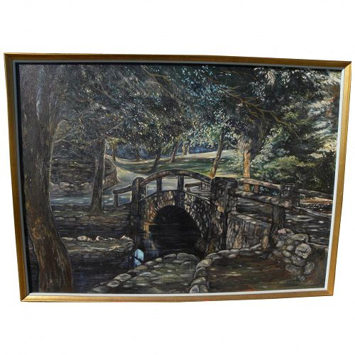 Large impressionist painting of a stone bridge over a brook in idyllic setting signed Tostrup