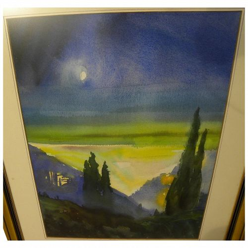 Modernist colorful watercolor landscape painting