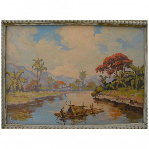 Impressionist signed vintage tropical landscape painting possibly Indonesian or Brazilian