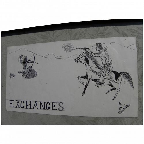 Charming vintage naive cowboys and indians ink drawing