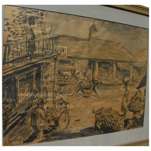 PIERRE MENAGER (1894-1973) old watercolor drawing of famous Cafe du Monde in New Orleans French Quarter by listed artist