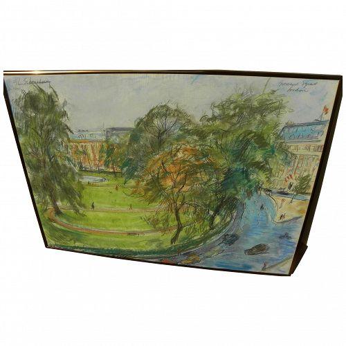 "SHELDON C. SCHONEBERG (1926-2013) pastel drawing ""Grosvenor Square, London"" by noted California artist"