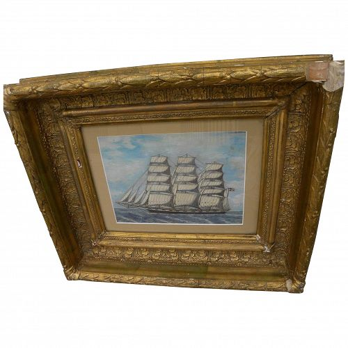 Clipper ship mixed media drawing in 19th century gold frame