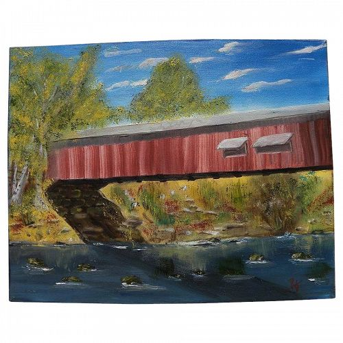 Contemporary American impressionist painting of eastern covered bridge