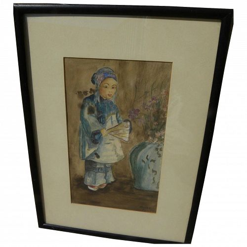 California watercolor 1912 painting of young Chinese girl in style of Esther Anna Hunt