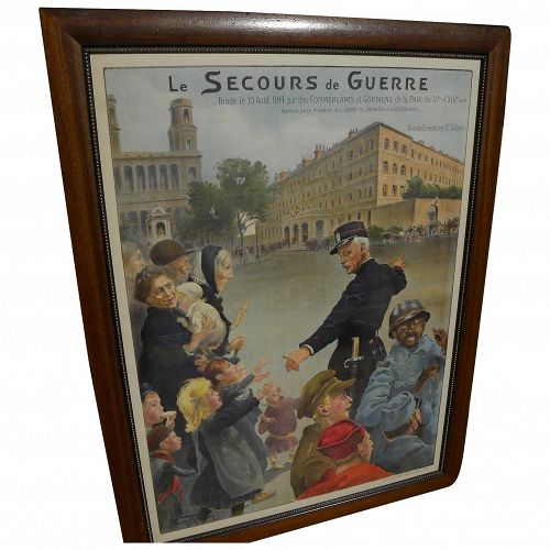 MAURICE ROMBERG (1882-1943) large French WWI recruitment original lithograph poster nicely framed