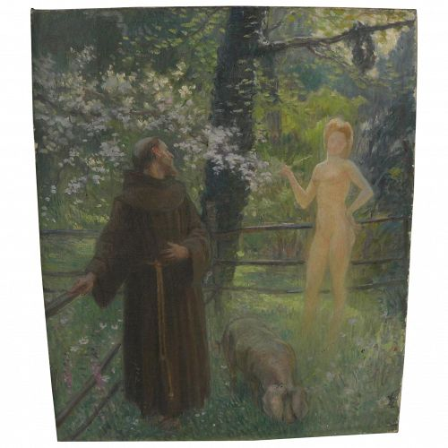 French impressionist circa 1910 whimsical painting of priest encountering young nude woman in forest