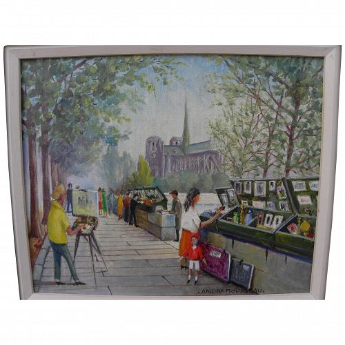 Paris 1960's signed oil painting of the famous bookstalls along the Seine