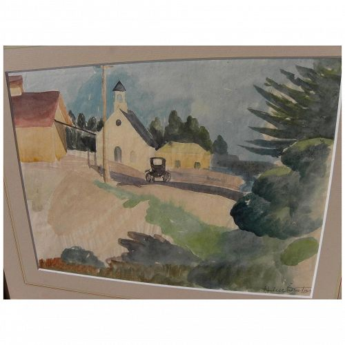 HELEN BRUTON (1898-1985) watercolor landscape painting by noted California woman artist