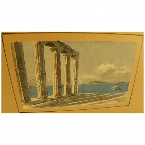 Greek art watercolor painting of ruins by the sea