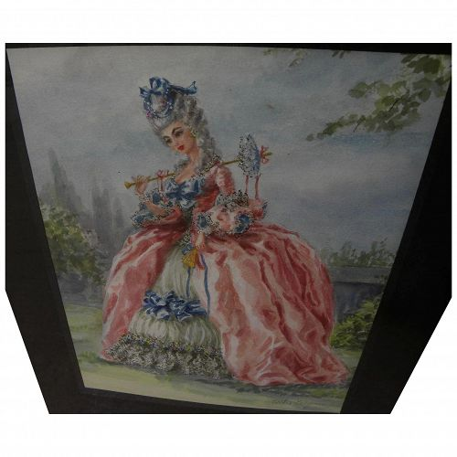 Watercolor painting of woman in elegant 18th century costume by California illustrator artist ESTHER WYNN (-1990)