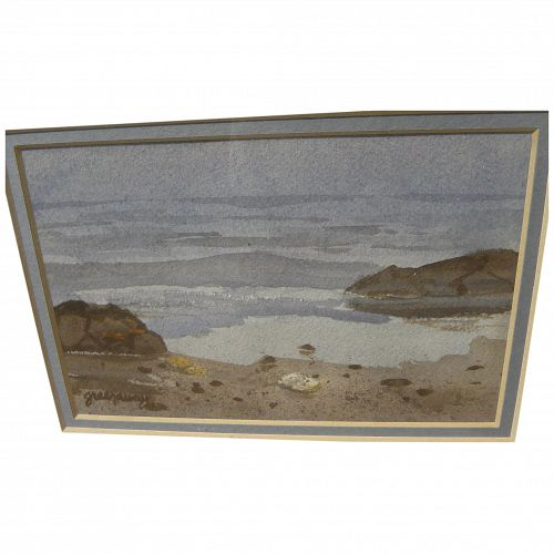 American contemporary watercolor painting of beach at water's edge signed Greenaway