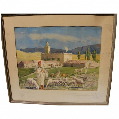 WILFRID BERG (1908-2002) circa 1940's watercolor painting of North African scene by noted Michigan artist
