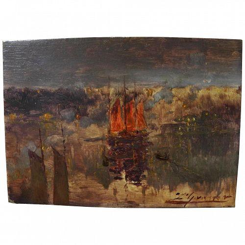 LUIS GRANER Y ARRUFI (1863-1929) impressionist painting harbor at night well known Spanish artist