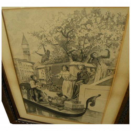 Impressive 19th century signed large French ink drawing of Venice troubadours serenading couple