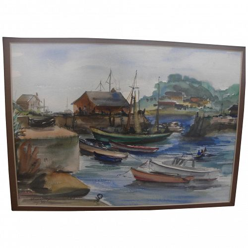 Harbor scene at Rockport Massachusetts 1945 signed watercolor